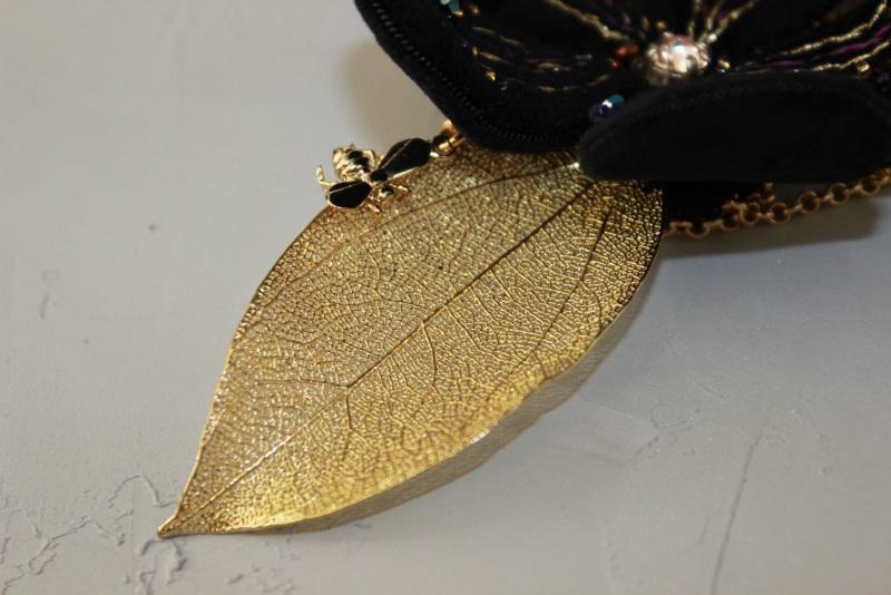Колье-чокер с цепями, жемчугом и вышивкой Желтый Полозоченная Корейская фу Швайковская Оксана - фото 15