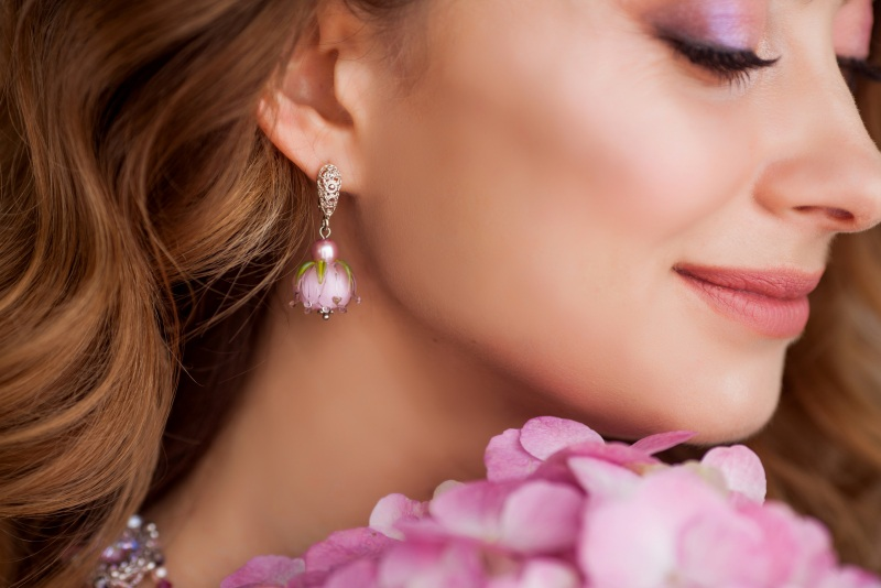 """Сережки квіти """"Ніжність"""" Рожевий Скляні намистини-квіти ру Швайковська Оксана - фото 1"""