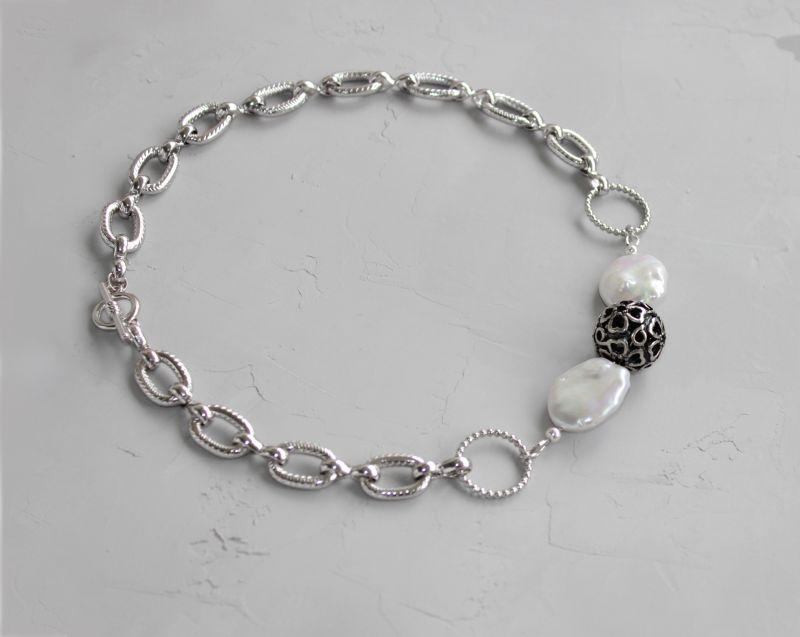 Чокер намисто із ланцюжками металевий і перлами Білий Натуральні барочні перли, Швайковська Оксана - фото 2