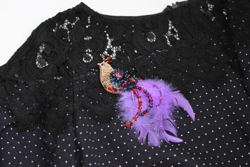 Брошь птичка Разноцветный японский бисер, французск Швайковская Оксана - фото 10