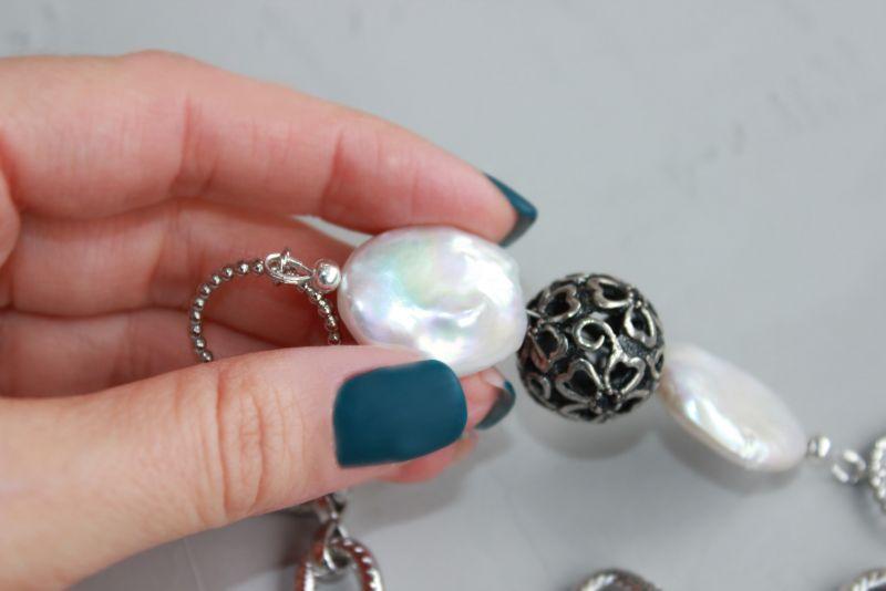 Чокер намисто із ланцюжками металевий і перлами Білий Натуральні барочні перли, Швайковська Оксана - фото 7
