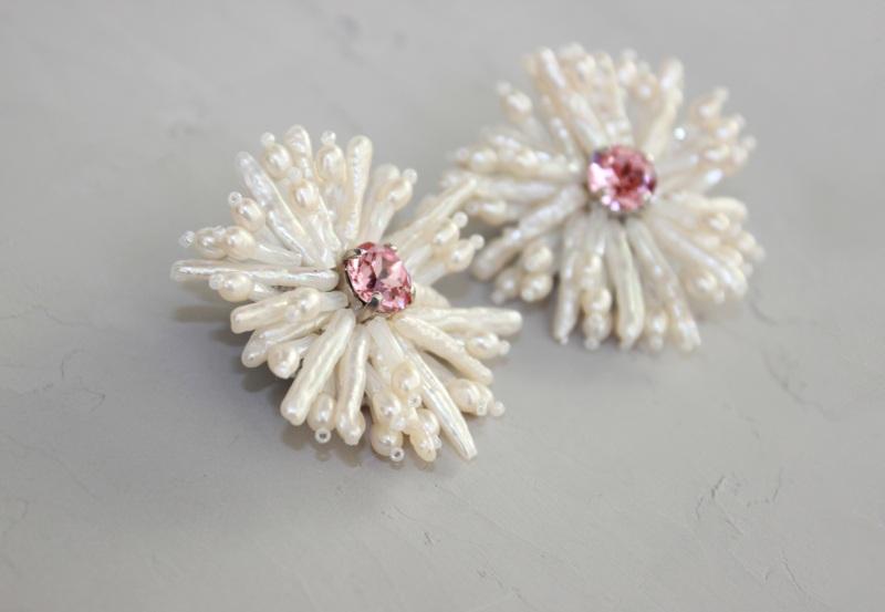 Серьги цветы из жемчуга Белый Натуральный  жемчуг, крис Швайковская Оксана - фото 5