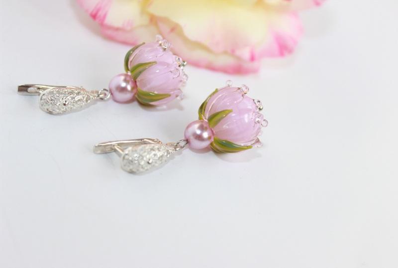 """Сережки квіти """"Ніжність"""" Рожевий Скляні намистини-квіти ру Швайковська Оксана - фото 5"""