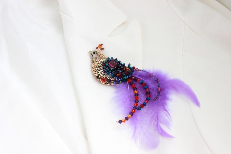 Брошь птичка Разноцветный японский бисер, французск Швайковская Оксана - фото 8