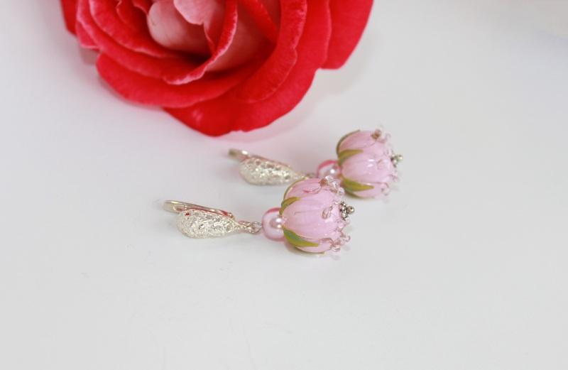 """Сережки квіти """"Ніжність"""" Рожевий Скляні намистини-квіти ру Швайковська Оксана - фото 2"""