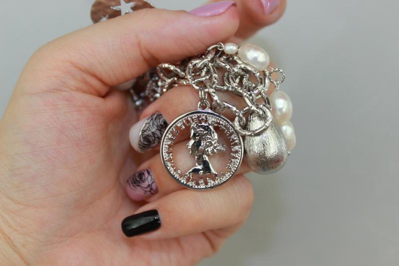Колье чокер металлическое цепи жемчуг с вышивкой Белый Металлическая цепь монеты Швайковская Оксана - фото 7