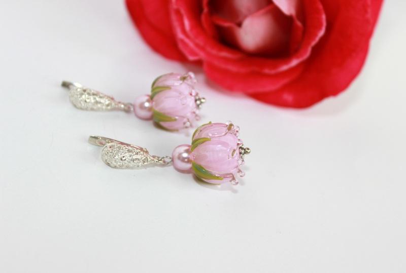"""Сережки квіти """"Ніжність"""" Рожевий Скляні намистини-квіти ру Швайковська Оксана - фото 4"""