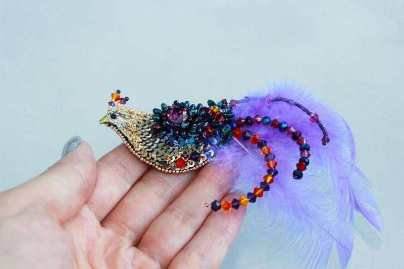 Брошь птичка Разноцветный японский бисер, французск Швайковская Оксана - фото 6