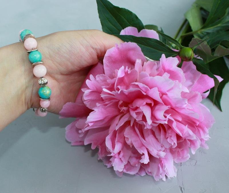 Браслет з натуральних каменів Рожевий натуральний рожевий кварц Швайковська Оксана - фото 4