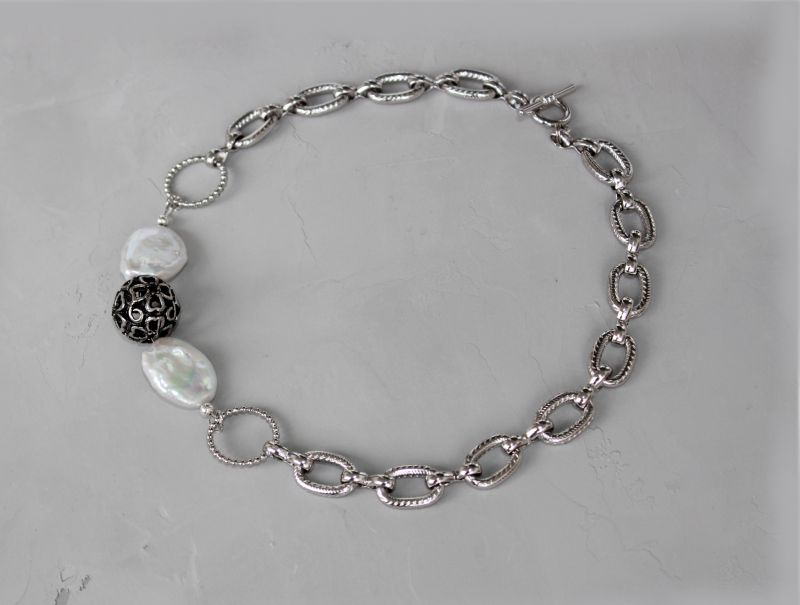 Чокер намисто із ланцюжками металевий і перлами Білий Натуральні барочні перли, Швайковська Оксана - фото 1