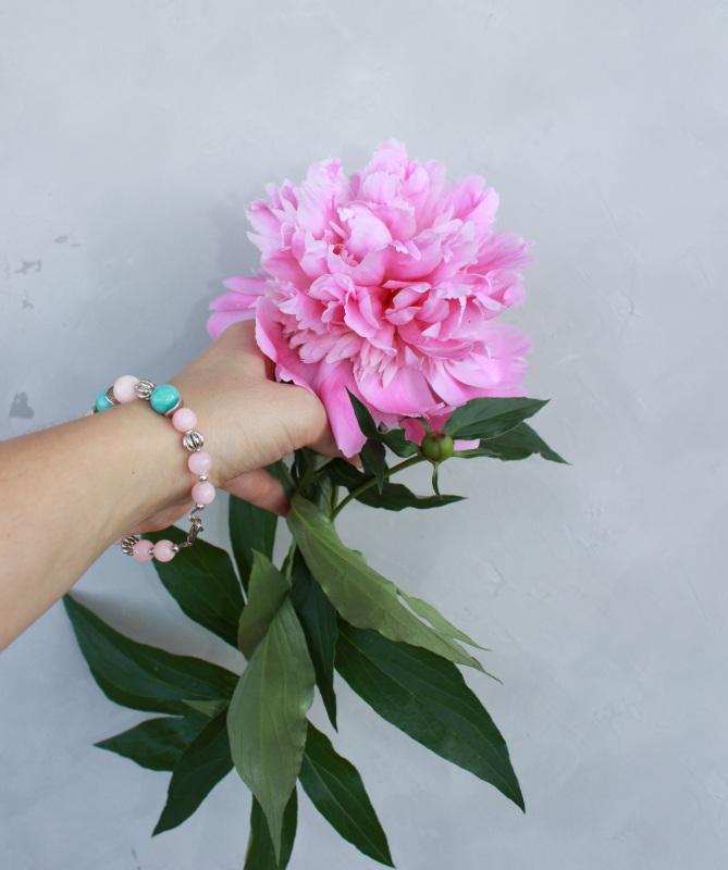 Браслет з натуральних каменів Рожевий натуральний рожевий кварц Швайковська Оксана - фото 5