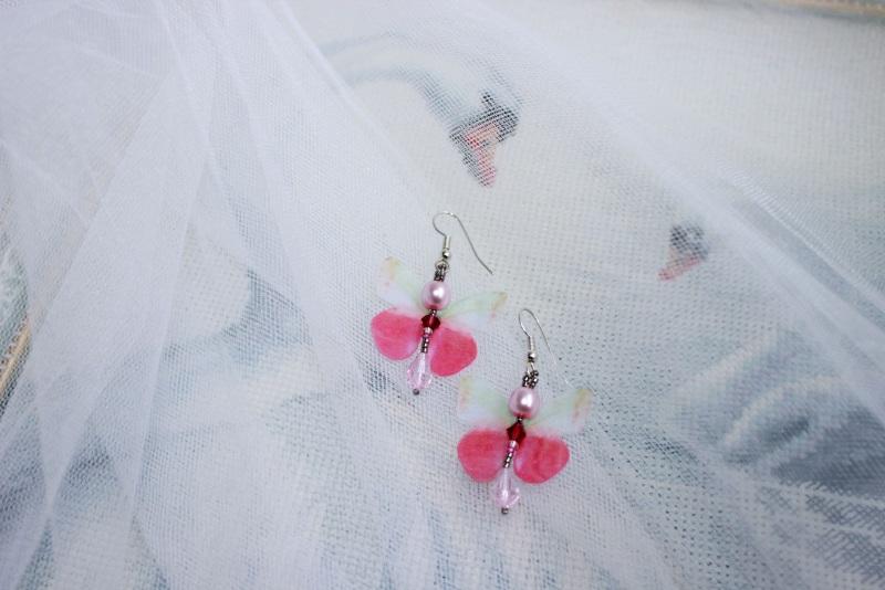 """Сережки из органзы """"Бабочки"""" Розовый бисер японский, хрустальн Швайковская Оксана - фото 4"""
