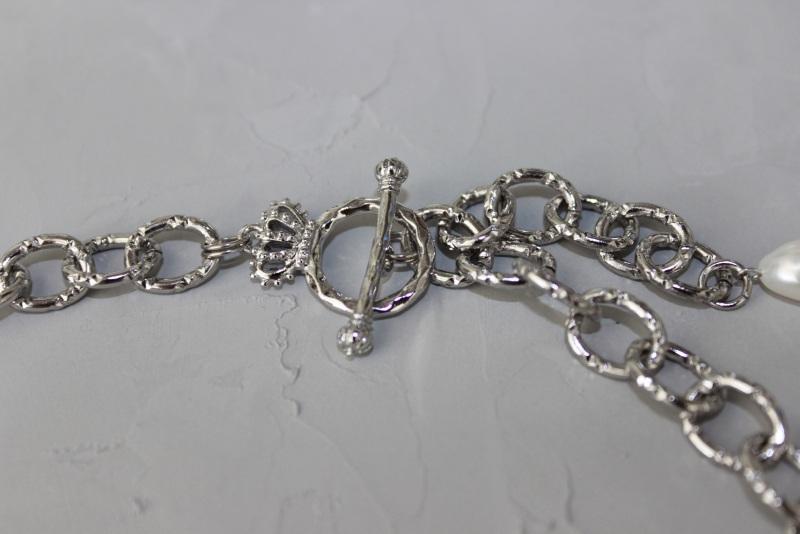 Колье чокер металлическое цепи жемчуг с вышивкой Белый Металлическая цепь монеты Швайковская Оксана - фото 6