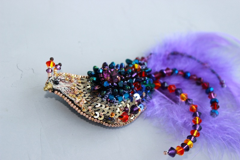 Брошь птичка Разноцветный японский бисер, французск Швайковская Оксана - фото 5
