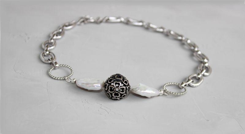 Чокер намисто із ланцюжками металевий і перлами Білий Натуральні барочні перли, Швайковська Оксана - фото 3