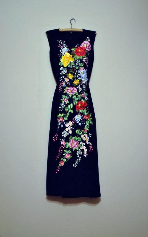 Стильная вышитая макси платье ручной работы Синий искусственный шелк, шелко Салдан Галина - фото 4