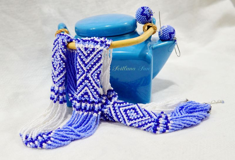 Волошково-синій орнамент Синий бисер фурнитура Сун Светлана - фото 1