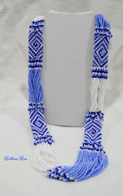 Волошково-синій орнамент Синий бисер фурнитура Сун Светлана - фото 3