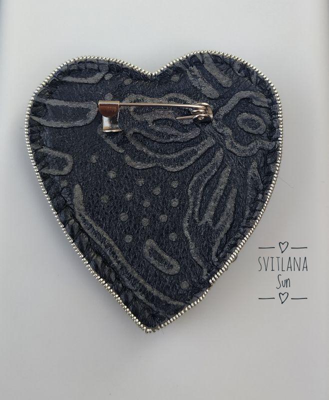 Сердце дракона брошь Черный Бисер, кристал, кожа, фур Сун Светлана - фото 6