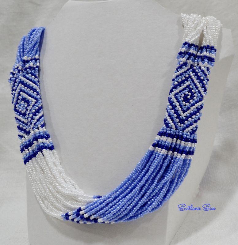 Волошково-синій орнамент Синий бисер фурнитура Сун Светлана - фото 2