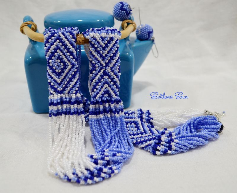 Волошково-синій орнамент Синий бисер фурнитура Сун Светлана - фото 4