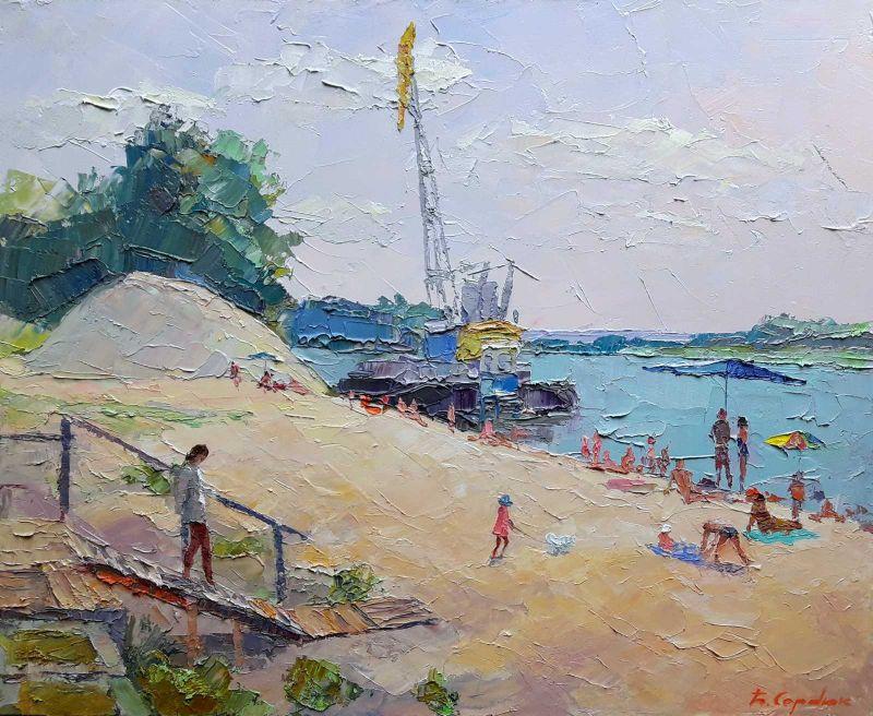 """""""На пляже""""  холст, масло Сердюк Борис - фото 1"""