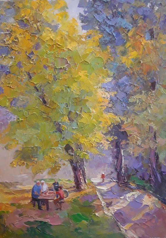 """Осень в парке""  холст,масло Сердюк Борис - фото 1"
