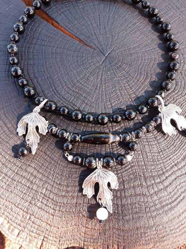 Черный чокер Черный Бусины агата, корейская ф Сердюк Людмила - фото 1