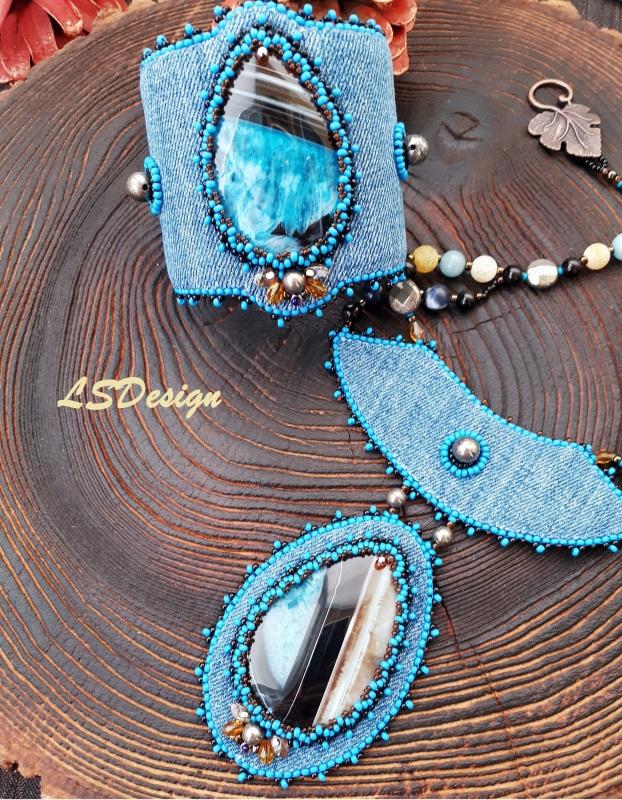 Комплект из колье и браслета Jeans magic Голубой Комплект из кулона и брас Сердюк Людмила - фото 1
