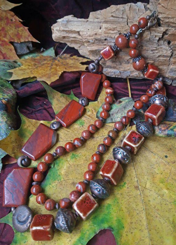 Монохром Красный яшма, керамика,. медная ф Скыба Елена - фото 1