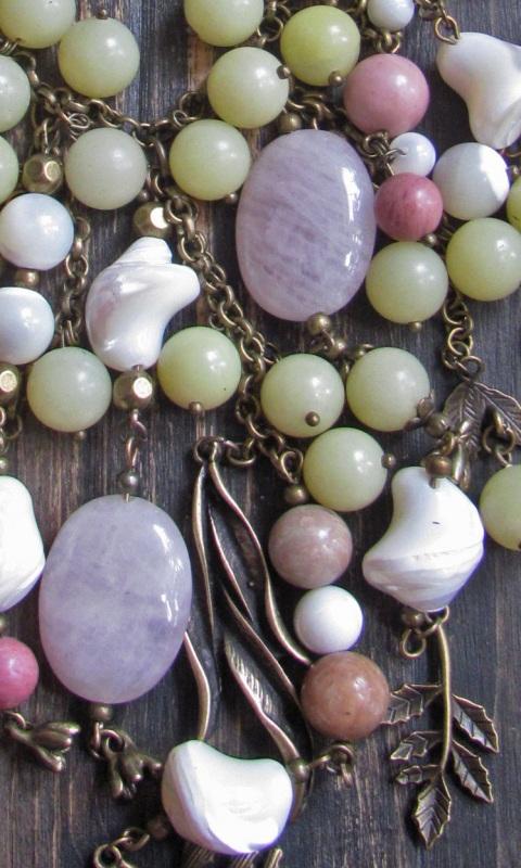 """Ожерелье в стиле бохо """"Яблоневый сад"""" Разноцветный Розовый кварц, оливин, пе Скыба Елена - фото 3"""