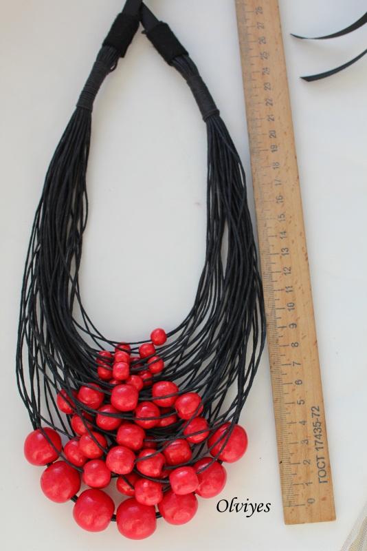 Ожерелье Olviyes S-290 Красный Шнур вощеный, деревянные Снеда Ольга - фото 2