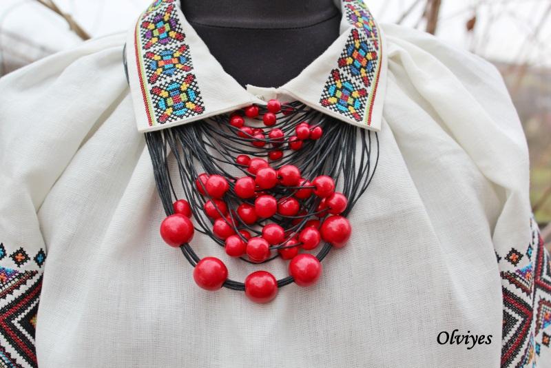 Ожерелье Olviyes S-290 Красный Шнур вощеный, деревянные Снеда Ольга - фото 4