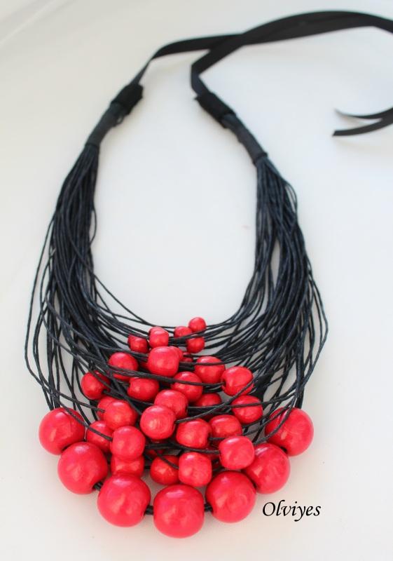 Ожерелье Olviyes S-290 Красный Шнур вощеный, деревянные Снеда Ольга - фото 1