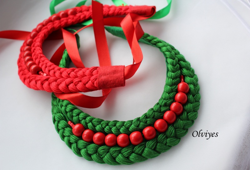 Ожерелье S283 Красный Бусинки деревянные, нитки Снеда Ольга - фото 2