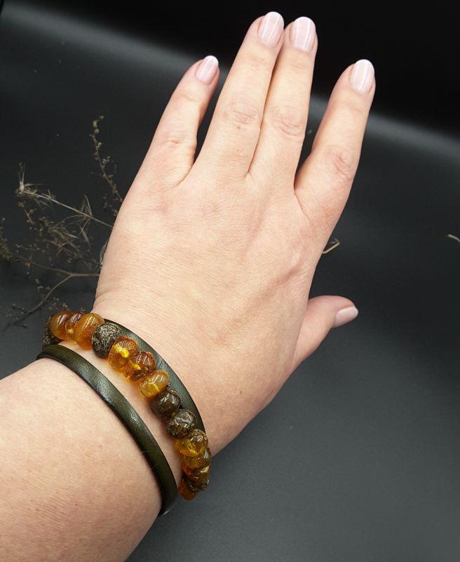 Браслет с янтарем  Янтарь натуральный, кожа, Сокольчук Елена - фото 4