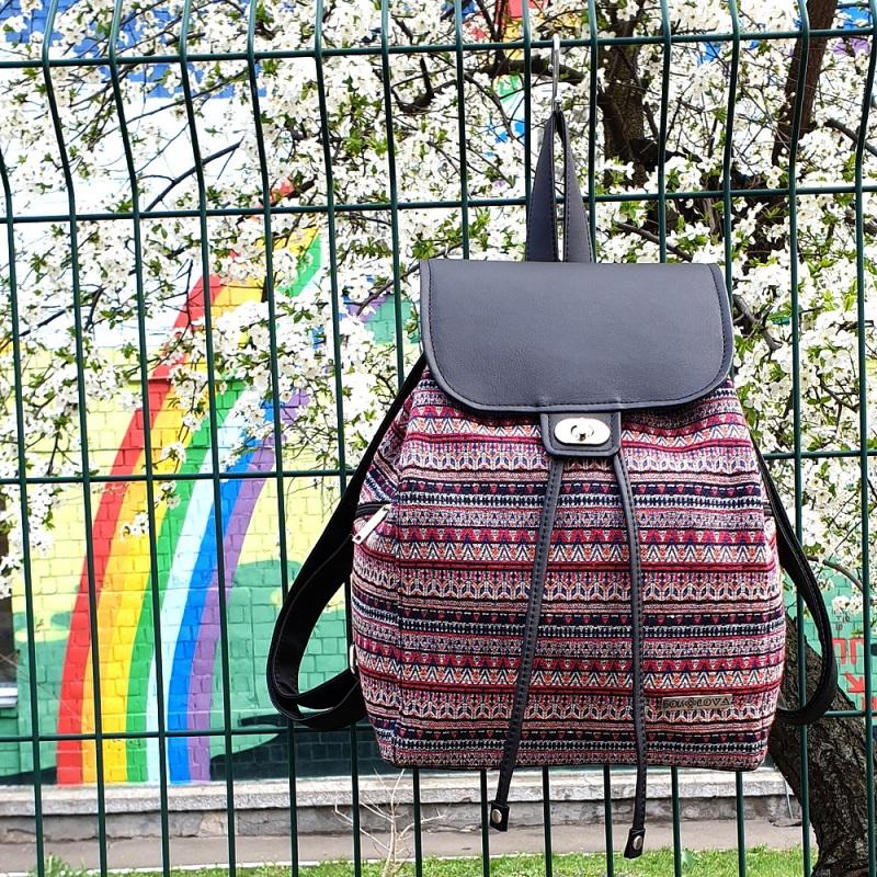 Рюкзак з гобелену та єкошкіри чорний Чорний • Матеріал верху: гобелен Соколова Світлана - фото 1
