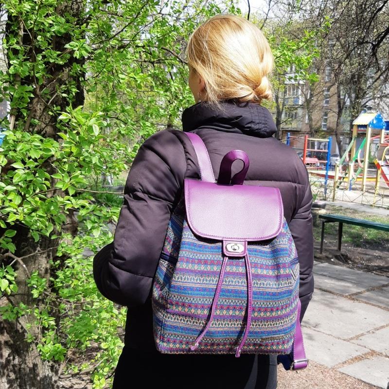 Рюкзак з гобелену та єкошкіри фуксія Фіолетовий • Матеріал верху: гобелен Соколова Світлана - фото 4