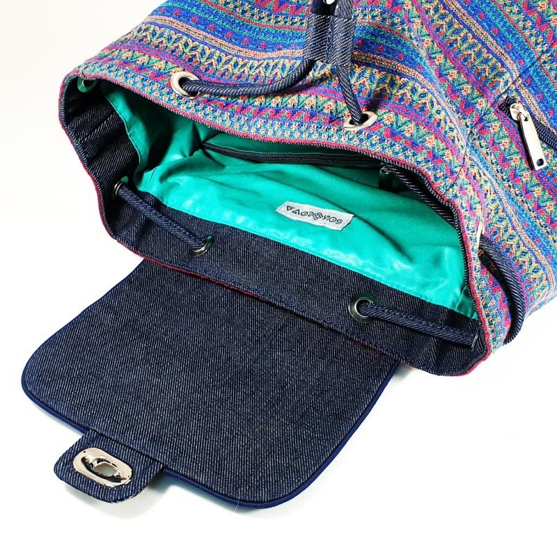 Великий рюкзак з гобелену та джинсу Синій • Матеріал верху: гобелен Соколова Світлана - фото 2