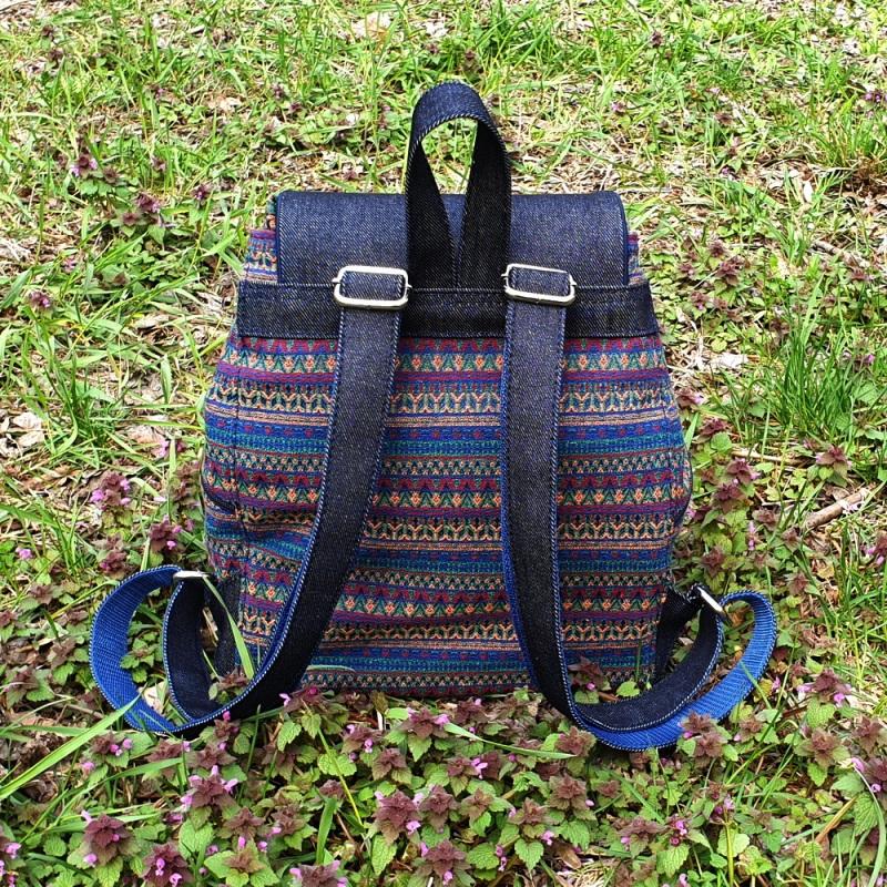 Великий рюкзак з гобелену та джинсу Синій • Матеріал верху: гобелен Соколова Світлана - фото 5