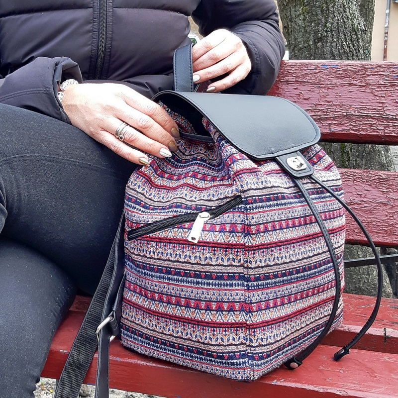 Рюкзак з гобелену та єкошкіри чорний Чорний • Матеріал верху: гобелен Соколова Світлана - фото 3