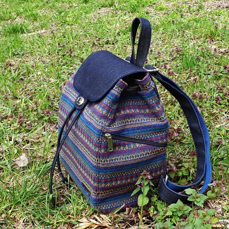 Великий рюкзак з гобелену та джинсу Синій • Матеріал верху: гобелен Соколова Світлана - фото 6