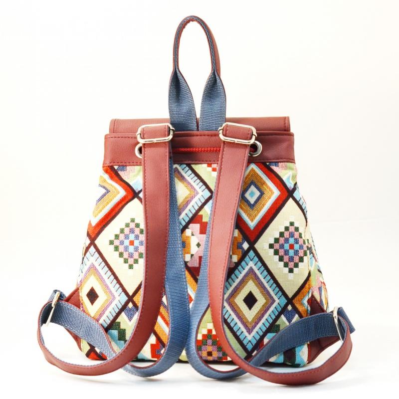 Рюкзак з гобелену та екошкіри  Червоний • Матеріал верху: гобелен Соколова Світлана - фото 3