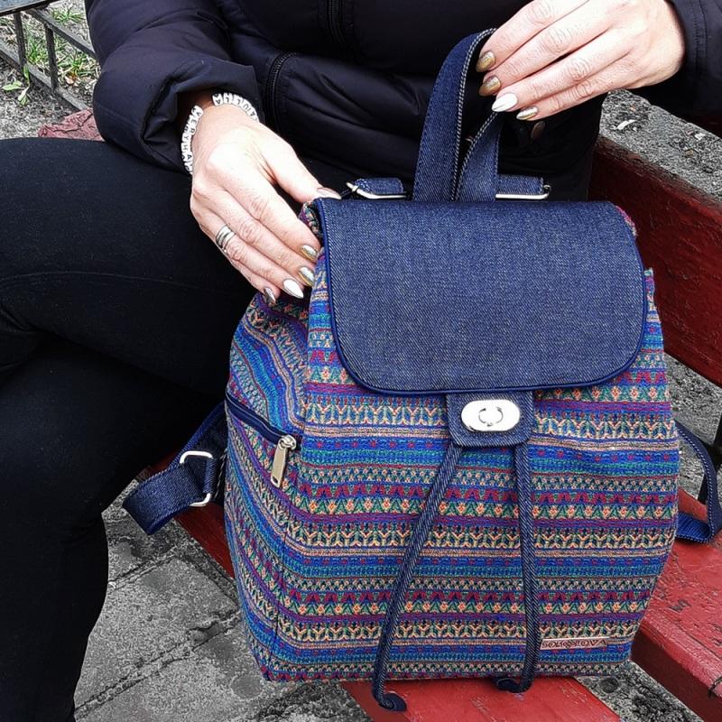 Великий рюкзак з гобелену та джинсу Синій • Матеріал верху: гобелен Соколова Світлана - фото 1