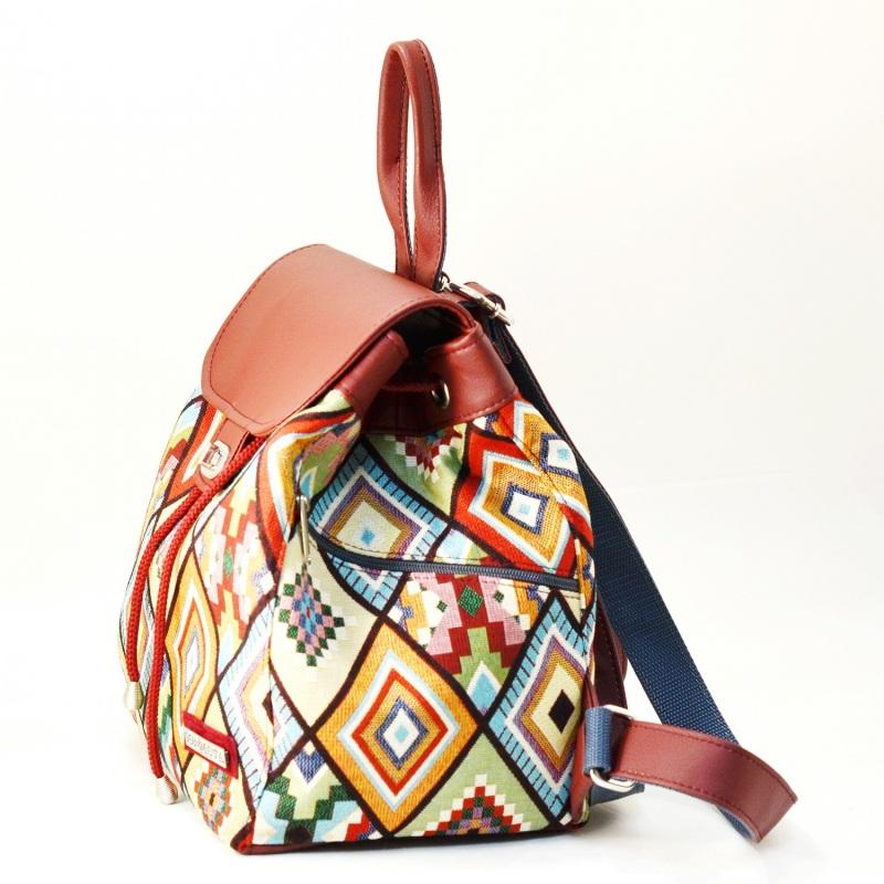 Рюкзак з гобелену та екошкіри  Червоний • Матеріал верху: гобелен Соколова Світлана - фото 2