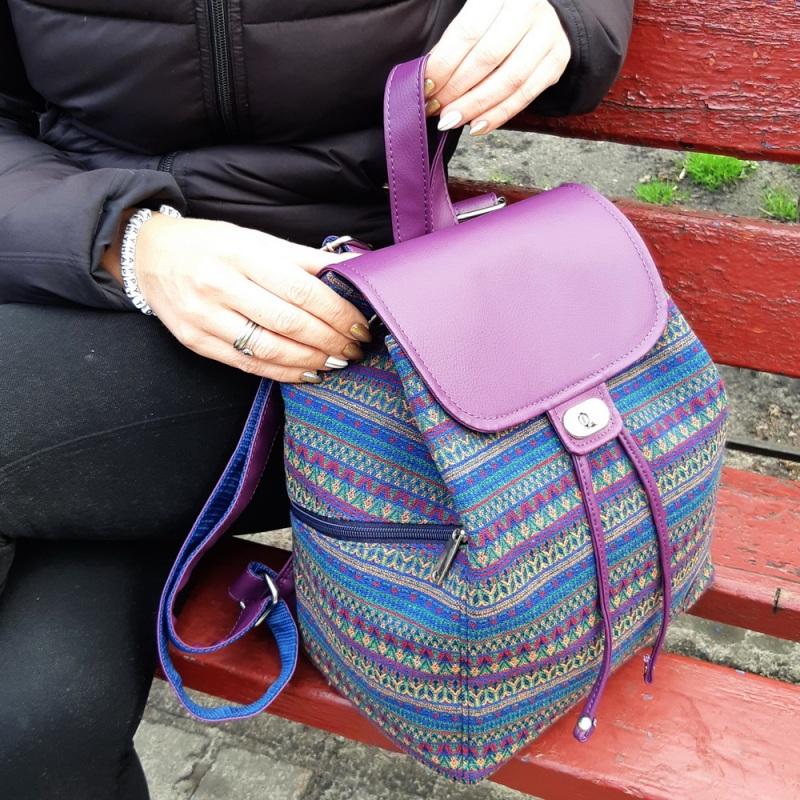 Рюкзак з гобелену та єкошкіри фуксія Фіолетовий • Матеріал верху: гобелен Соколова Світлана - фото 1