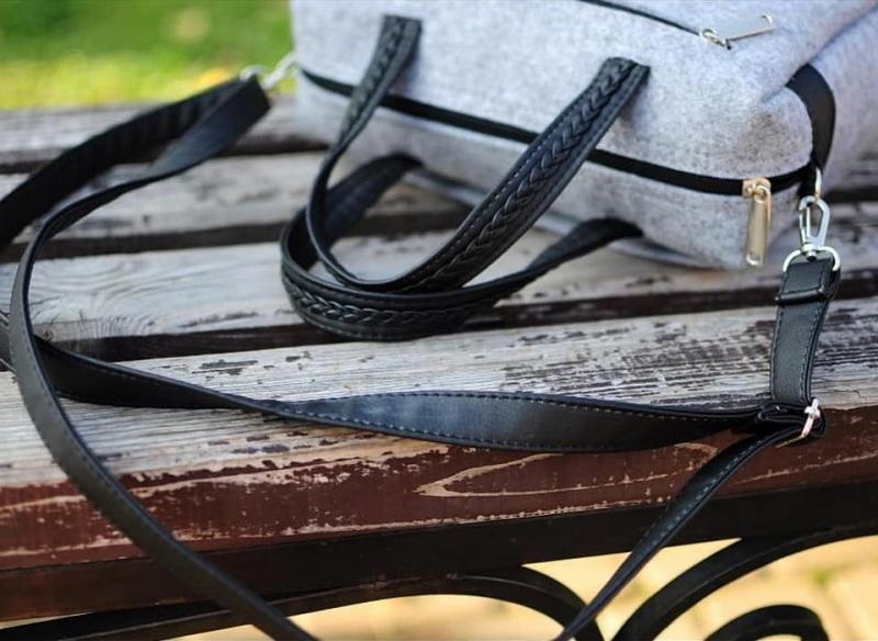 """Сумка фетровая прямоугольная маленькая """"Черные птицы"""" Серый Фетр, искусственная замша Соколова Светлана - фото 3"""