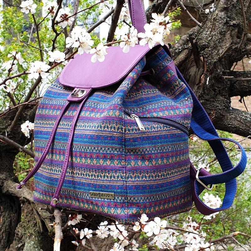 Рюкзак з гобелену та єкошкіри фуксія Фіолетовий • Матеріал верху: гобелен Соколова Світлана - фото 3