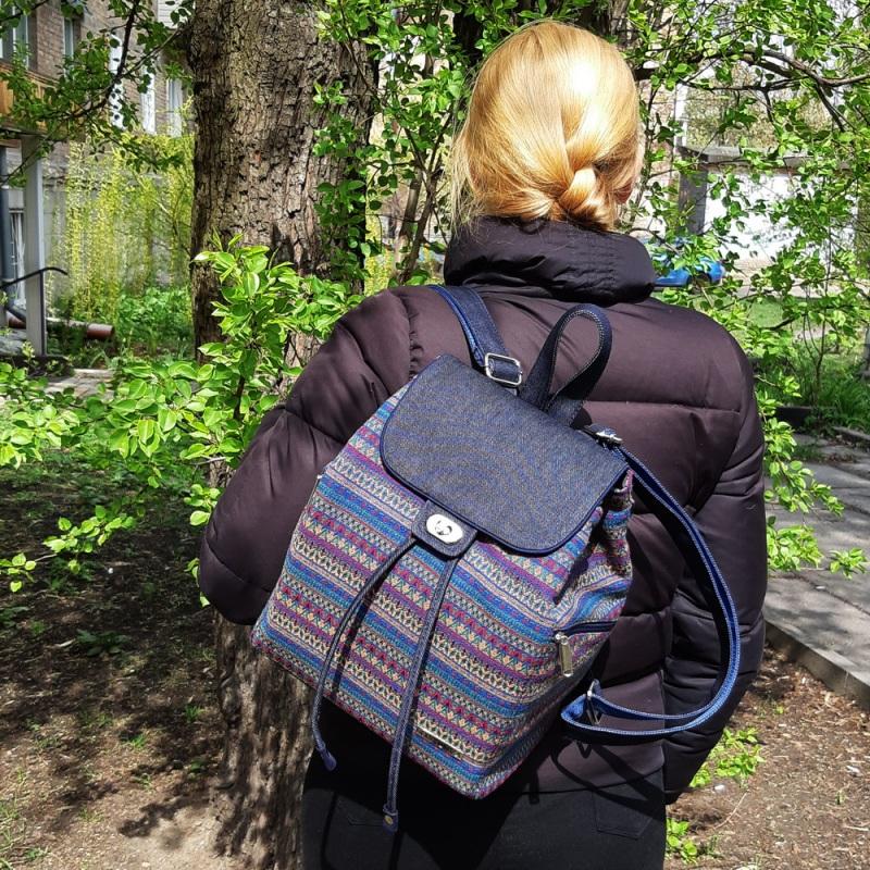 Великий рюкзак з гобелену та джинсу Синій • Матеріал верху: гобелен Соколова Світлана - фото 4