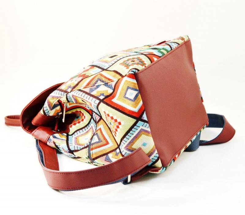 Рюкзак з гобелену та екошкіри  Червоний • Матеріал верху: гобелен Соколова Світлана - фото 4